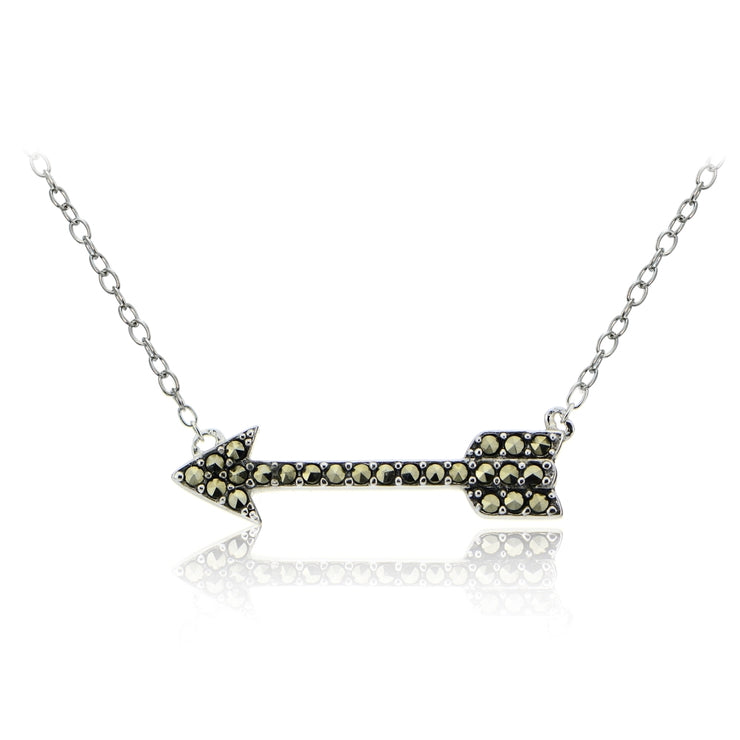 Sterling Silver Marcasite Love Arrow Necklace