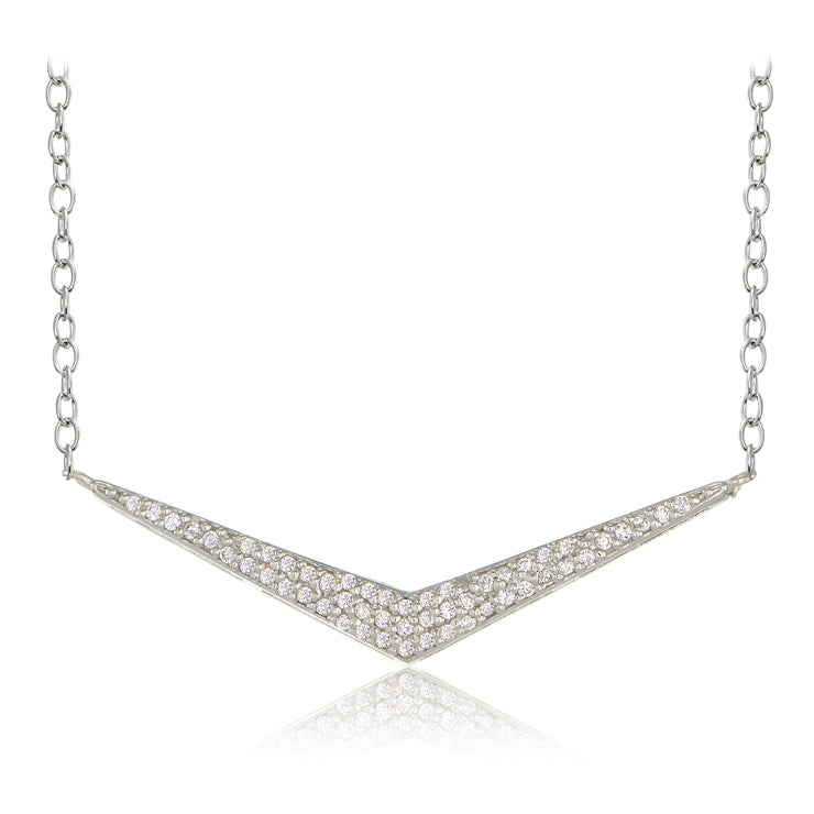 Sterling Silver Cubic Zirconia V Necklace