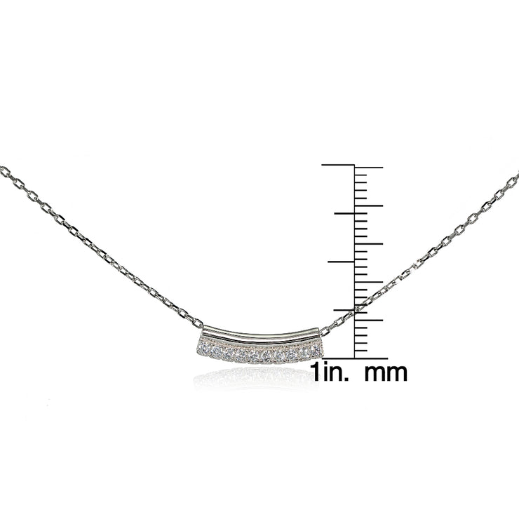 Sterling Silver Cubic Zirconia Bar Choker Necklace