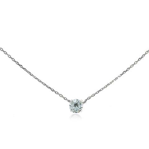 Sterling Silver Cubic Zirconia Solitaire Choker Necklace