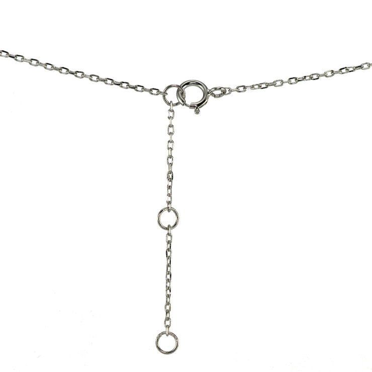 Sterling Silver Cubic Zirconia Circle Choker Necklace