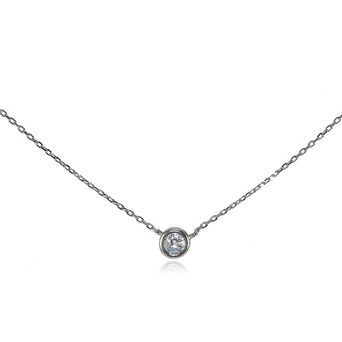 Sterling Silver Cubic Zirconia Bezel-Set Solitaire Choker Necklace
