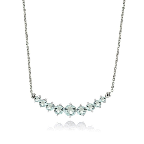 Sterling Silver Aquamarine Graduated Necklace