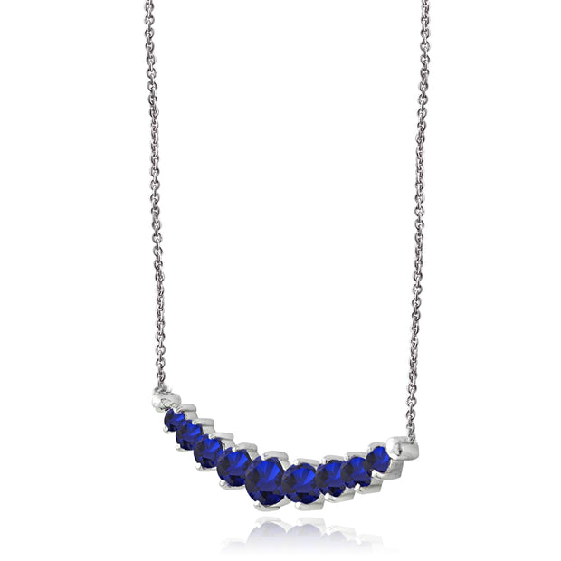 Sterling Silver Created Sapphire Graduated Necklace