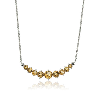 Sterling Silver Citrine Graduated Necklace