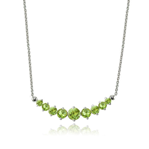 Sterling Silver Peridot Graduated Necklace