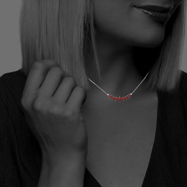 Sterling Silver Created Ruby Graduated Necklace