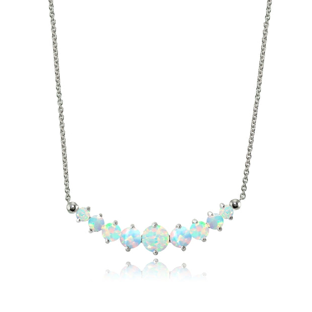 Sterling Silver Created Opal Graduated Necklace