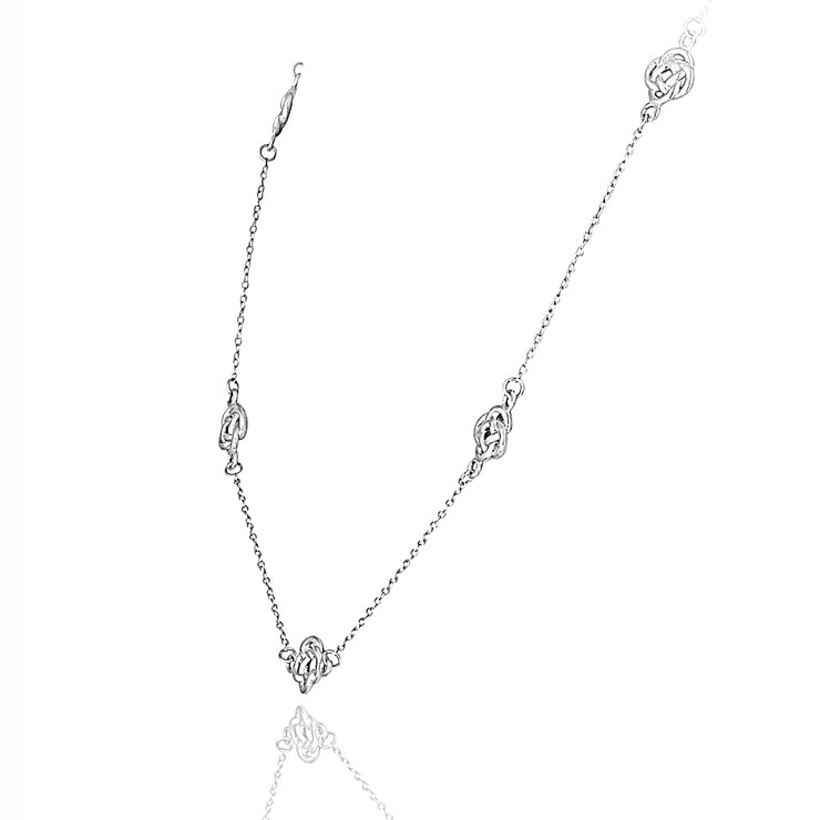 Sterling Silver Polished Love Knot Flower Station Chain Necklace