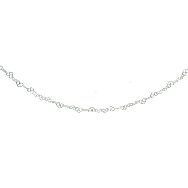 Sterling Silver 3.5mm Intertwining Hearts Link Chain Necklace, 18 Inches