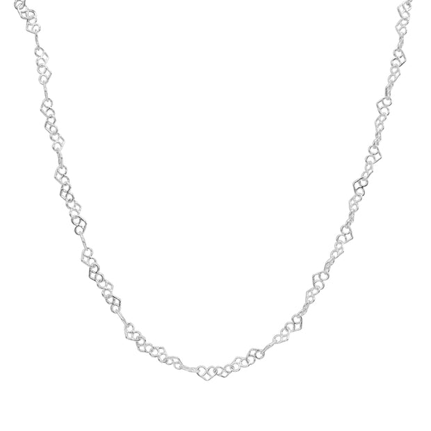 Sterling Silver 3.5mm Intertwining Hearts Link Chain Necklace, 30 Inches