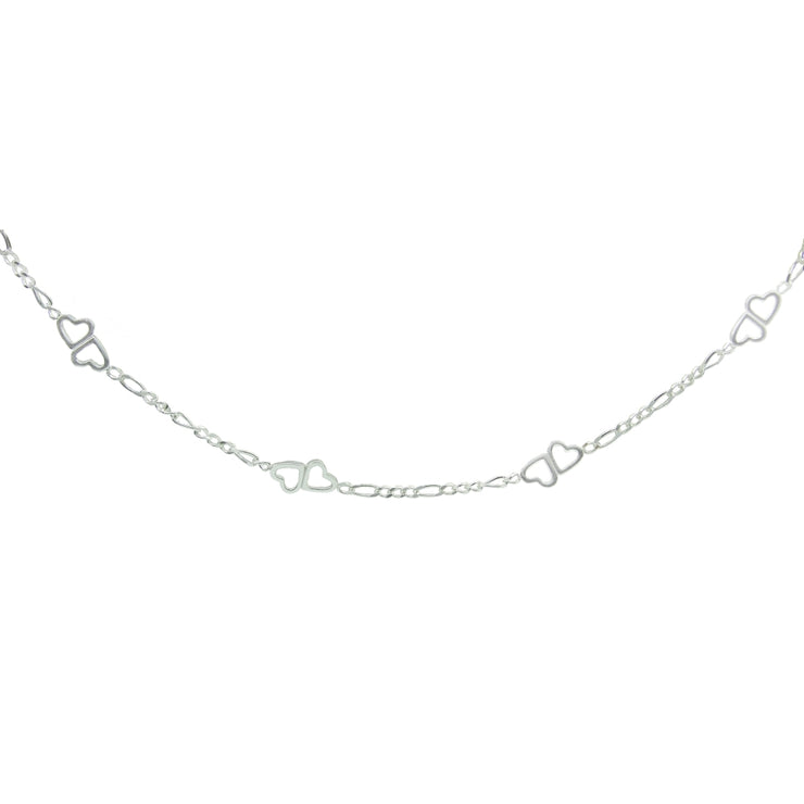 Sterling Silver Figaro Link Chain with Double Hearts Choker Necklace