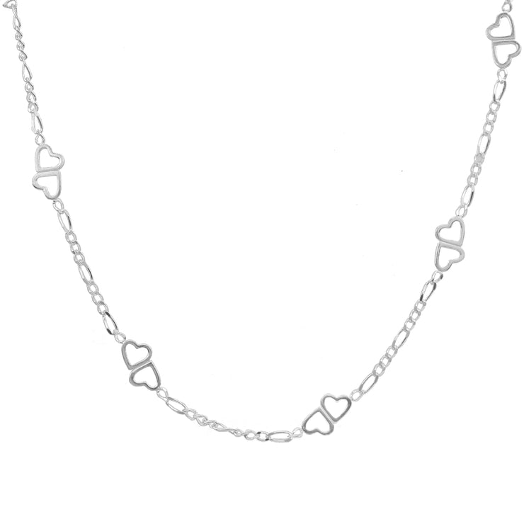 Sterling Silver Figaro Link Chain with Double Hearts Necklace, 24 Inches
