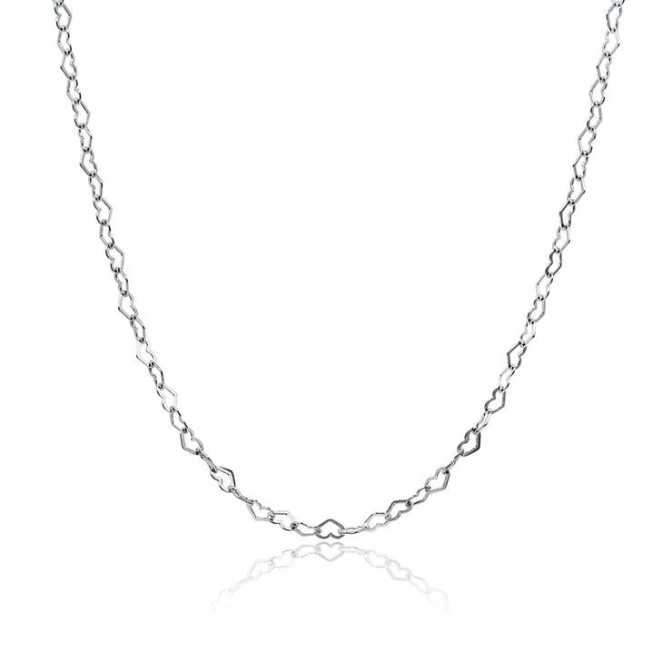 Sterling Silver Heart Link Chain Choker Necklace