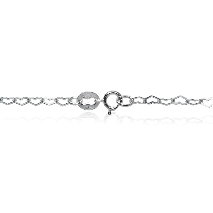 Sterling Silver Heart Link Chain Necklace, 18 Inches