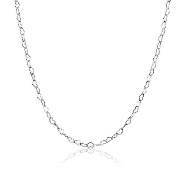 Sterling Silver Heart Link Chain Necklace, 30 Inches