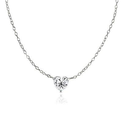 Sterling Silver Small Dainty Cubic Zirconia Heart Choker Necklace