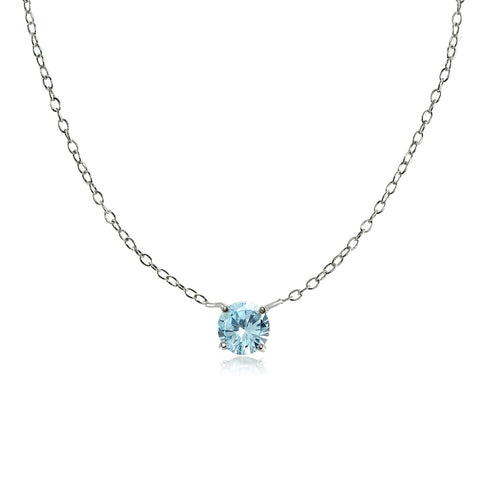 Sterling Silver Small Dainty Round Blue Topaz Choker Necklace
