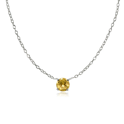 Sterling Silver Small Dainty Round Citrine Choker Necklace