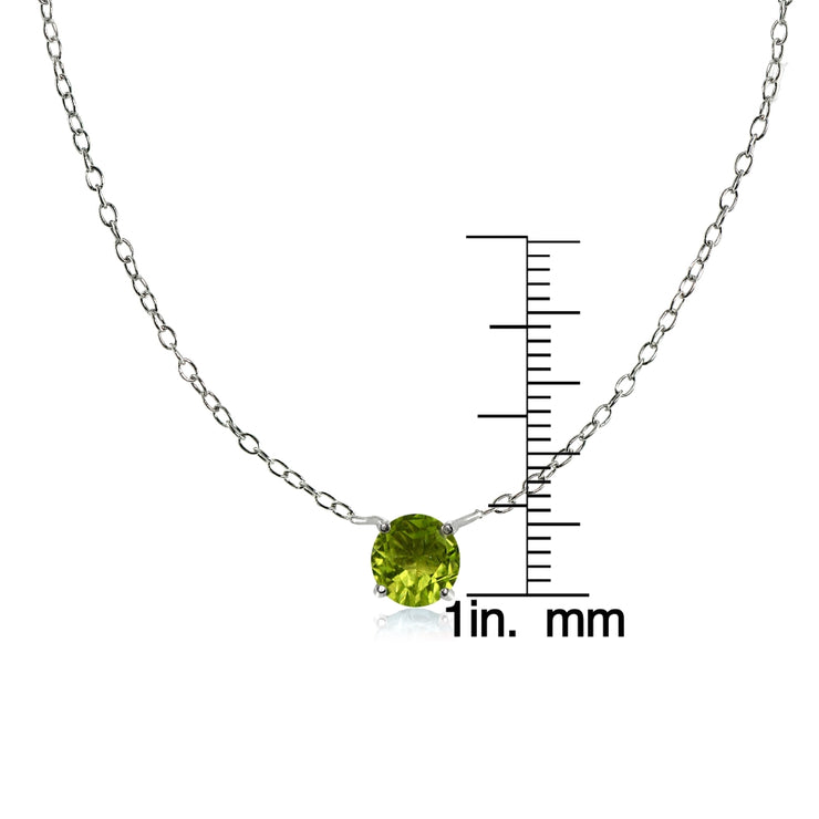 Sterling Silver Small Dainty Round Peridot Choker Necklace