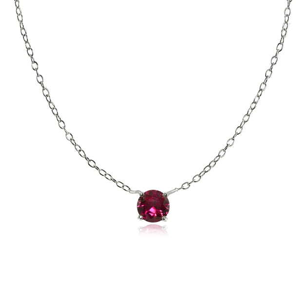 Sterling Silver Small Dainty Round Created Ruby Choker Necklace