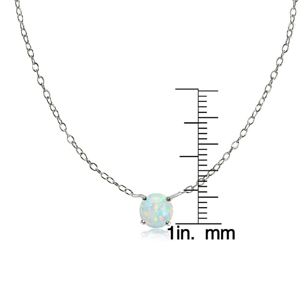 Sterling Silver Small Dainty Round Simulated White Opal Choker Necklace