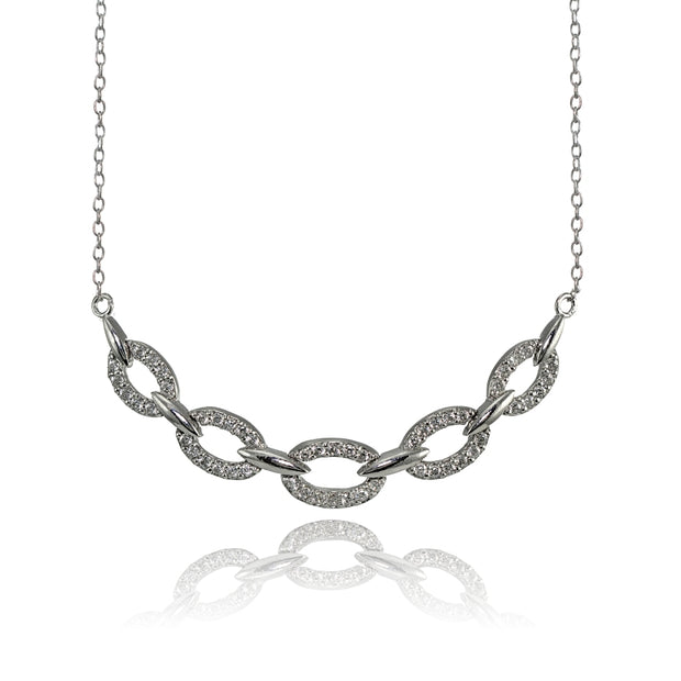 Sterling Silver Cubic Zirconia Oval Link Frontal Necklace
