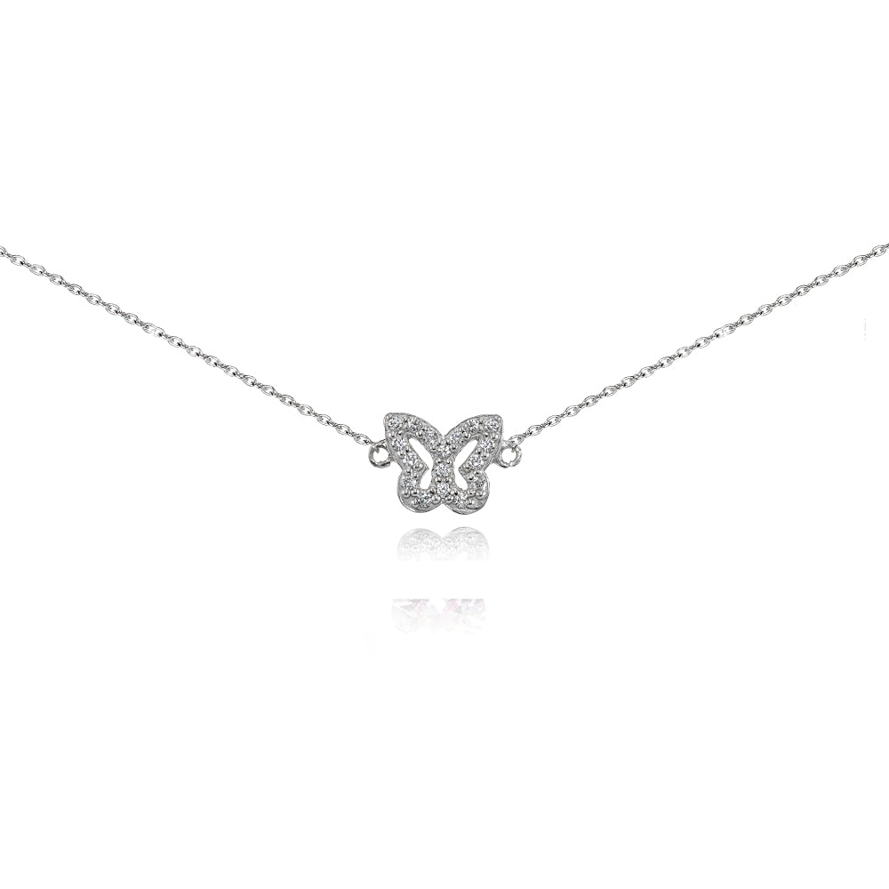 Jewelry Necklaces Necklace with Pendants Sterling Silver Polished CZ Butterfly 14in Necklace