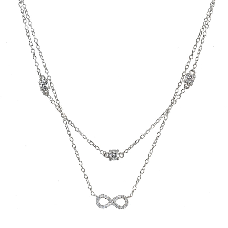 Sterling Silver Cubic Zirconia Infinity Layered Choker Necklace