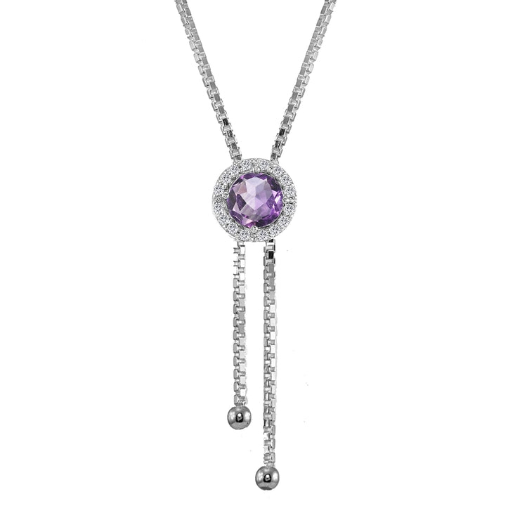 Sterling Silver Amethyst and White Topaz Round Halo Drop Adjustable Lariat Necklace
