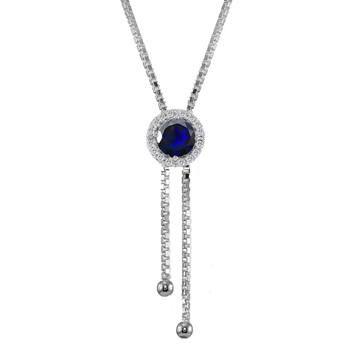 Sterling Silver Created Blue Sapphire and White Topaz Round Halo Drop Adjustable Lariat Necklace