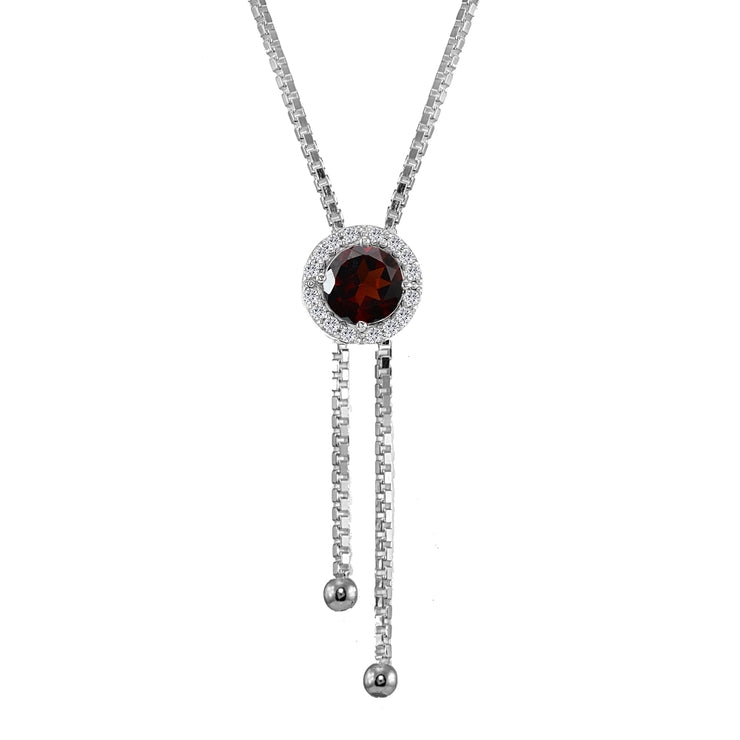 Sterling Silver Garnet and White Topaz Round Halo Drop Adjustable Lariat Necklace