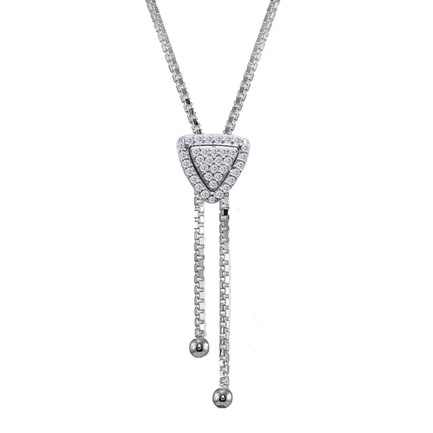 Sterling Silver Cubic Zirconia Triangle Halo Drop Adjustable Lariat Necklace