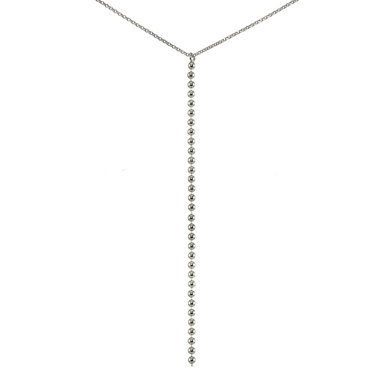 Sterling Silver Italian Ball Beads Chain Lariat Drop Y Necklace