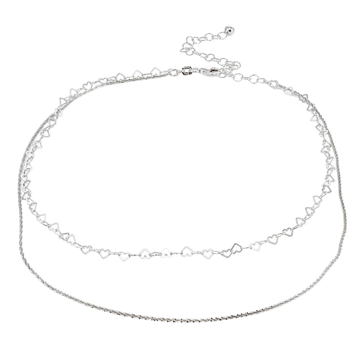Sterling Silver Mirror Twist Rope & Open Heart Italian Chain Choker Layered Necklace