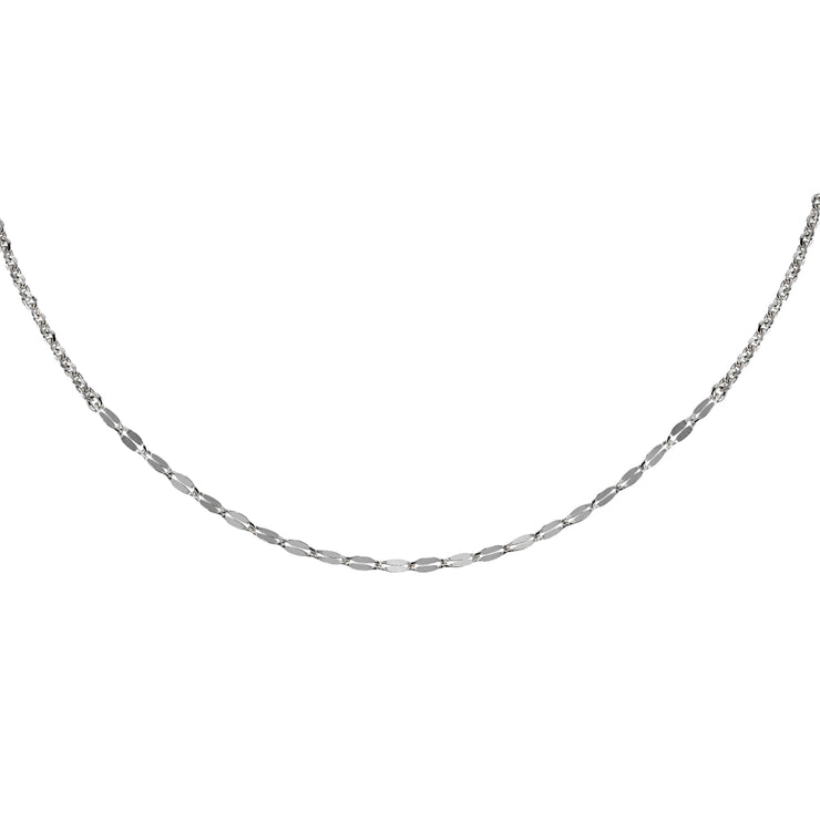 Sterling Silver Cable with Fashion Link Italian Chain Choker Necklace