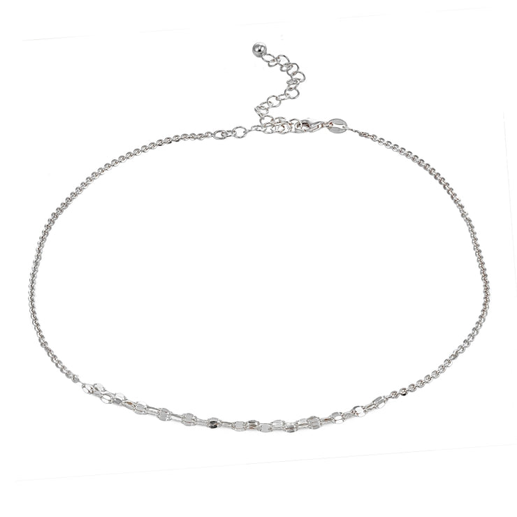 Sterling Silver Cable with Fashion Link Italian Chain Triple Layered Choker Necklace