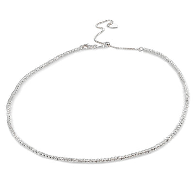 Sterling Silver Diamond-Cut Beads Adjustable Italian Chain Choker Necklace