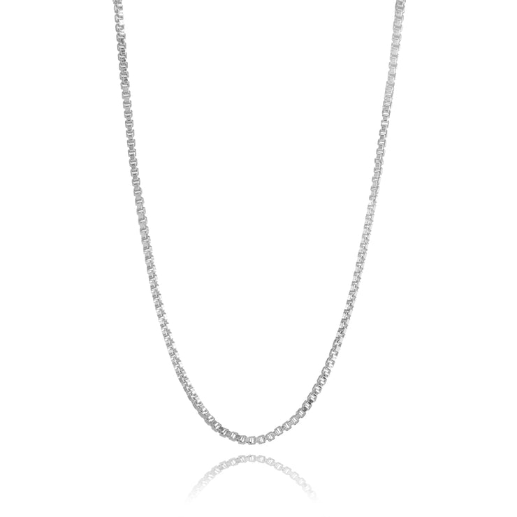 Sterling Silver 1mm Box Chain Dainty Necklace, 24 Inches