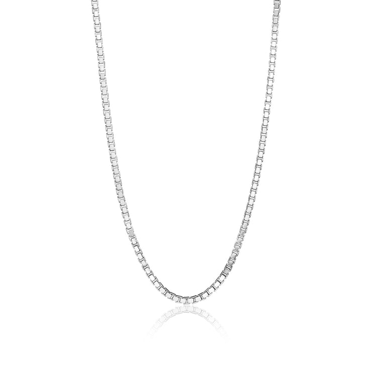 Sterling Silver 1.3mm Box Chain Dainty Necklace, 16 Inches