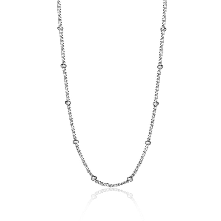 Sterling Silver 2mm Bead Station Cable Chain Necklace, 18 Inches