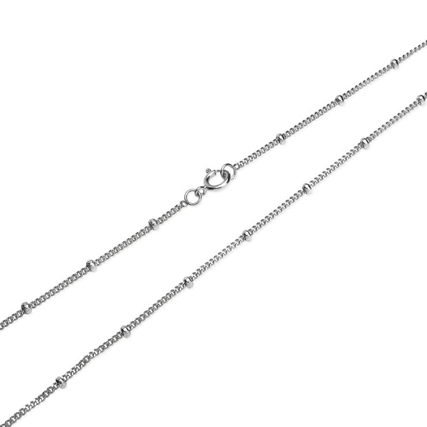 Sterling Silver 2mm Bead Station Cable Chain Necklace, 30 Inches