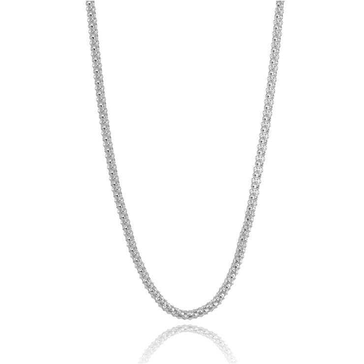Sterling Silver 1.5mm Popcorn Chain Necklace, 20 Inches