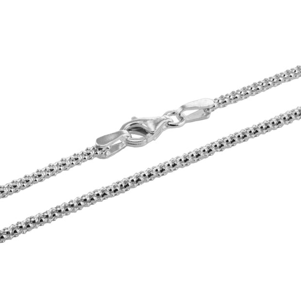 Sterling Silver 1.5mm Popcorn Chain Necklace, 30 Inches