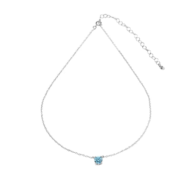 Sterling Silver Light Blue Solitaire Choker Necklace set with Swarovski Crystals