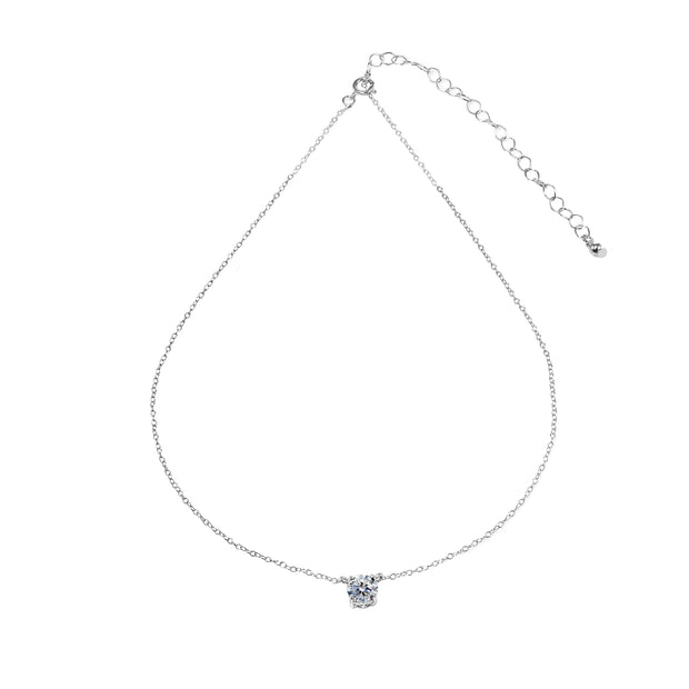 Sterling Silver Clear Solitaire Choker Necklace set with Swarovski Crystals