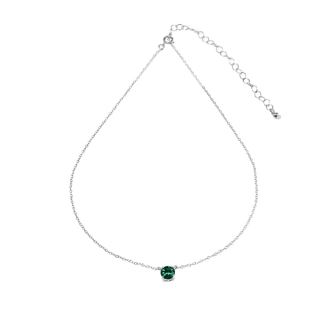 Sterling Silver Green Solitaire Choker Necklace set with Swarovski Crystals