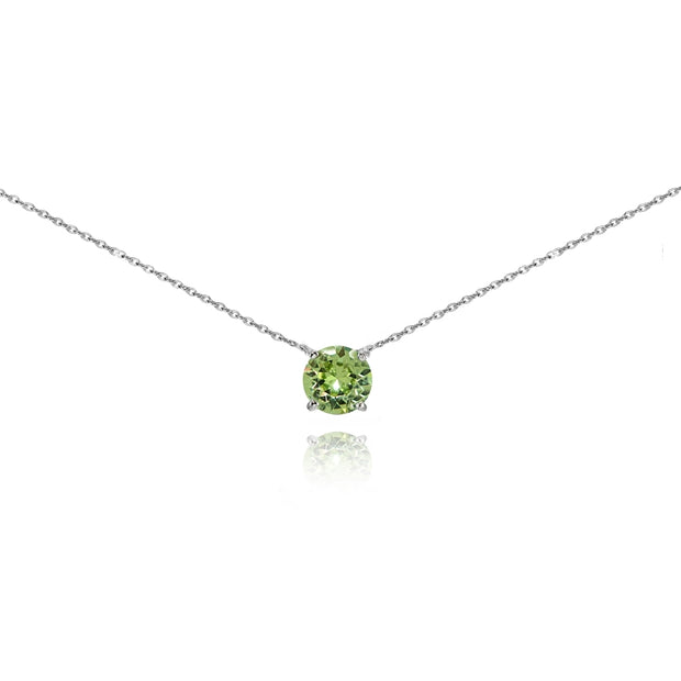 Sterling Silver Light Green Solitaire Choker Necklace set with Swarovski Crystals