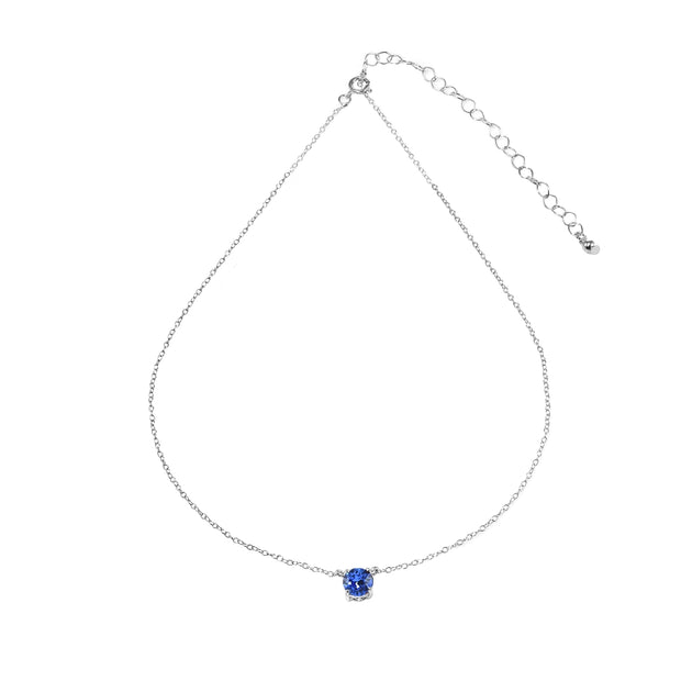 Sterling Silver Blue Solitaire Choker Necklace set with Swarovski Crystals