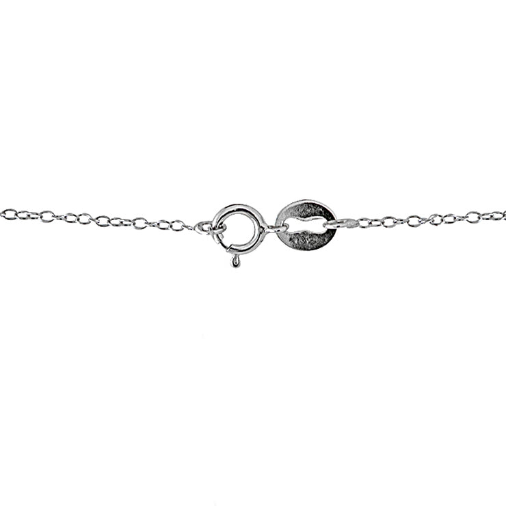 Sterling Silver CZ Station Dainty Chain Necklace, 18 Inches